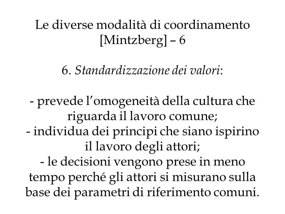 Le diverse modalità di coordinamento [Mintzberg] – 6 6